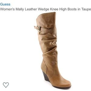 Guess | Mally Leather Wedge Knee High Boots